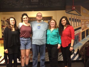 L to R: Scrawlers Mariah Woelfel, Megan Deppen, and Brandon Haskey, UCWbL director Lauri Dietz, and Scrawler Rima Mandwee