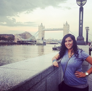Rima poses alongside the London Bridge during her semester abroad.