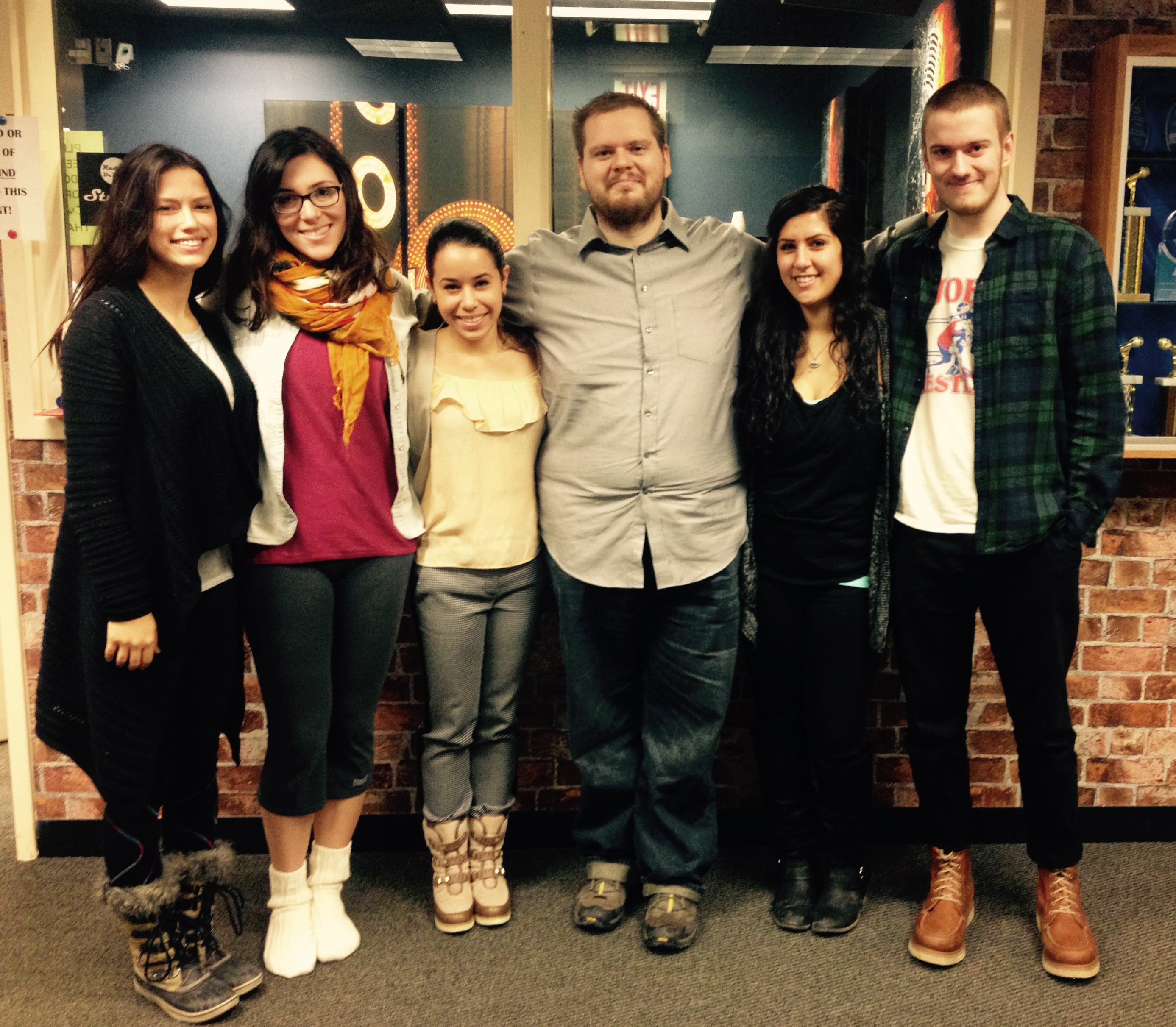 This week Scrawl was joined by the EDGE students! (L-R) Mariah, Megan, EDGE student Gen, Brandon, Rima, EDGE student Will.