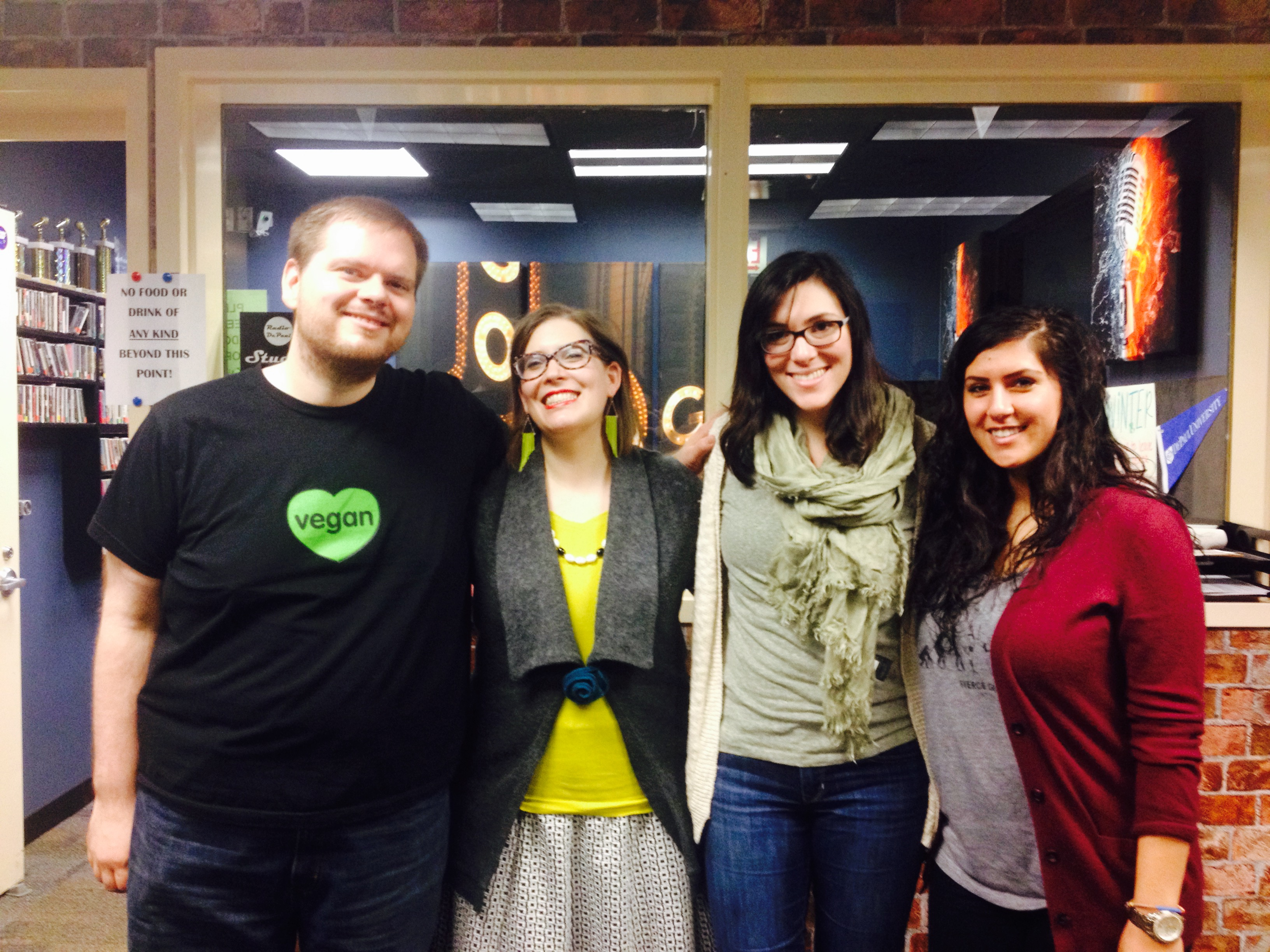 This week (L-R) Brandon, Jen Finstrom, Megan, and Rima talked all about publishing.